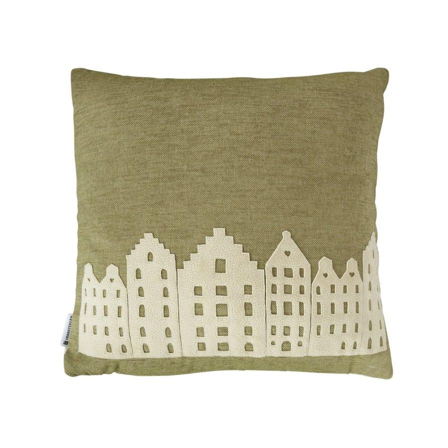 Pillow - olive green/vanilla - souvenir / gift