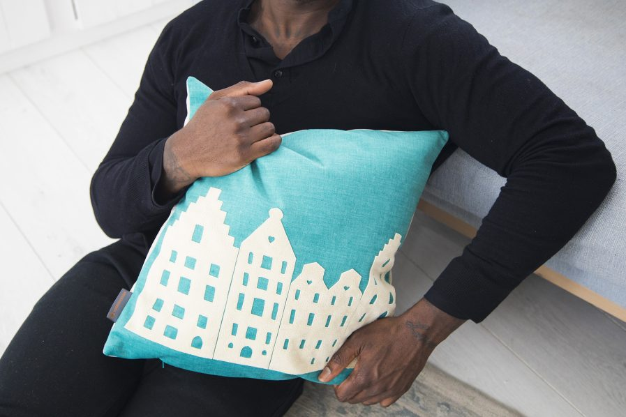 Pillow – turquoise/vanilla - souvenir/gift