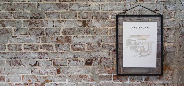 Amsterdam Wallmap Letterpress